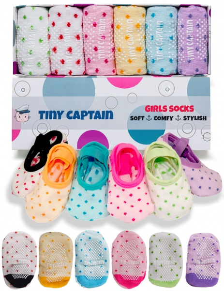 Toddler Girls Grip Socks - Rainbow Strap Set - 3-5 Year Old 6 Pack Gift
