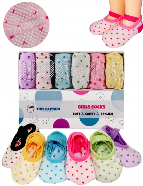 Non Skid Socks For 1-3 Years Old Toddler Girls With Strap