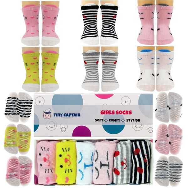 BabyToddler Girl Socks Perfect For 8-24 Months W/ Grip Cat Ears Cotton Sock