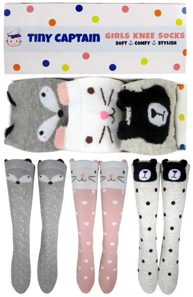 Girls Knee High Long Socks Ages 4-8 Gift 3 Pack