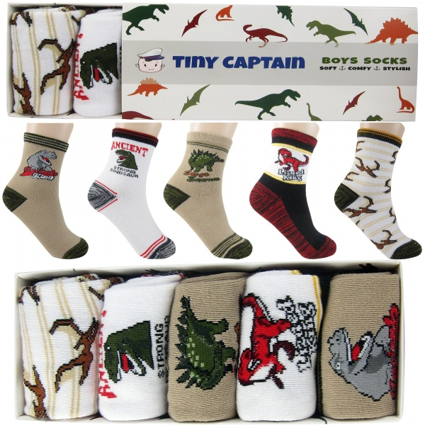 Boys Dinosaur Socks Ages 4-6 5 Pack Set